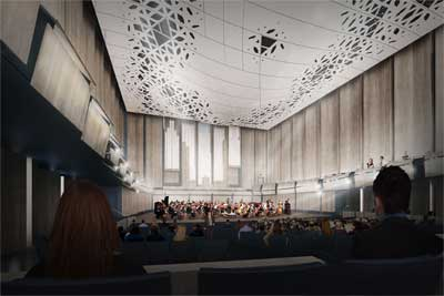 700-seat concert hall in new music building.