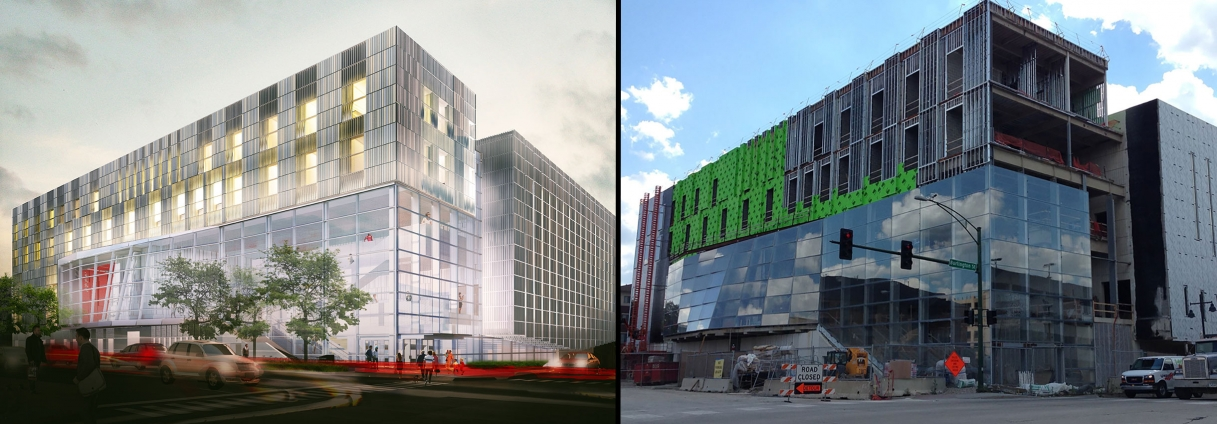 Side-by-side views of music building rendering versus current construction.