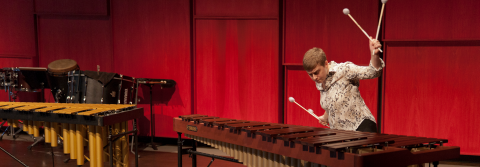 Percussion students performs in the Recital Hall.