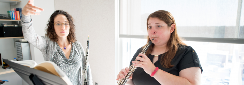 Oboe Professor Courtney Miller teaches a student.