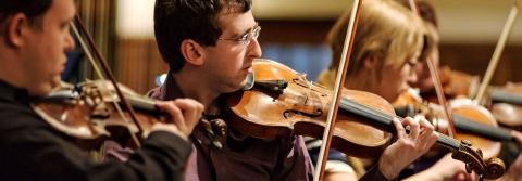 Violins at an orchestra rehearsal.