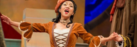 A student performs in the 2015 summer production of THE GONDOLIERS.