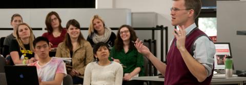 Musicology professor Nathan Platte teaches a class.