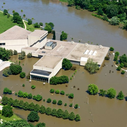 Aerial photos of the UI campus taken when the Iowa River was about 31 feet.