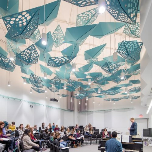 Choir rehearses in choral rehearsal room