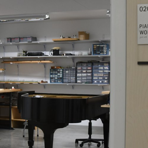 photo looking into the piano workshop