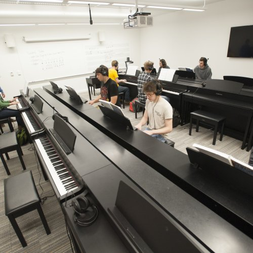 Students in the piano lab