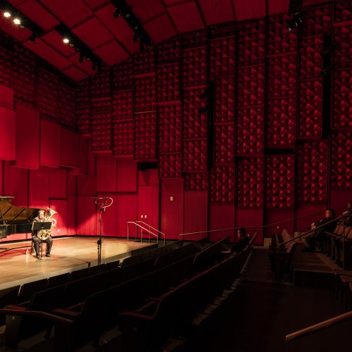 tuba and piano perform in the recital hall