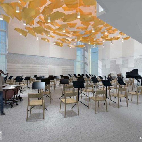 Interior rendering: large rehearsal hall.