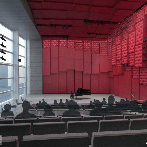 Interior rendering: 200-seat recital hall.