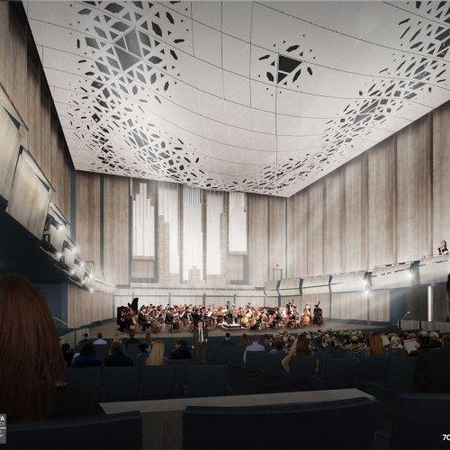 Interior rendering: 700-seat concert hall.
