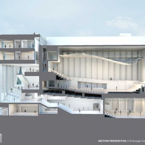 A rendering of the new music building looking east/west through the concert hall.building