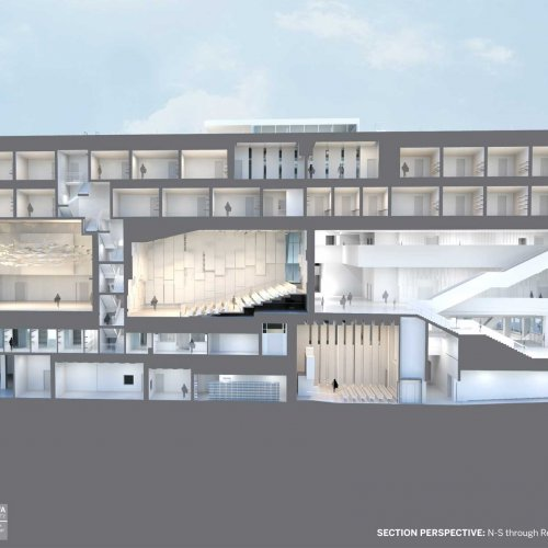 A rendering of the new music building looking north/south through the concert hall.building