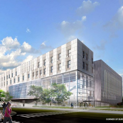 Exterior rendering of the new building as seen from the corners of Burlington and Clinton.