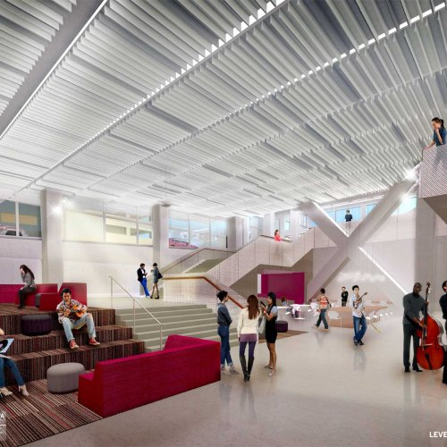 Interior rendering: student commons.