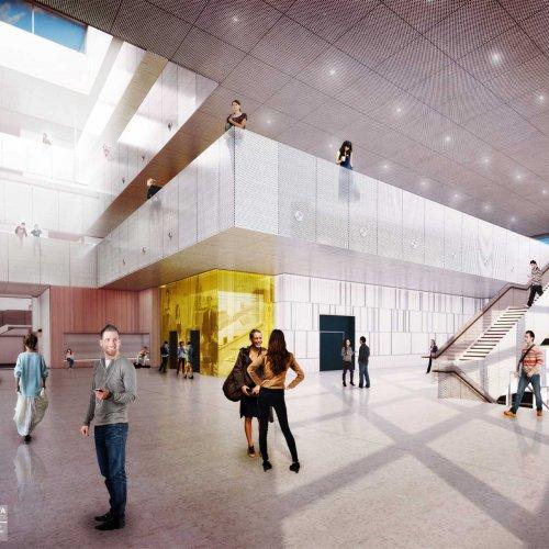 Interior rendering: level 2 lobby space.