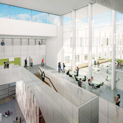 Interior rendering: level 4 public space.