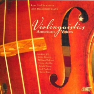 Image of the Violinguistics CD cover showing violin strings and F hole.