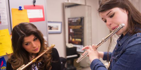 Flutist Emily Duncan in a lesson
