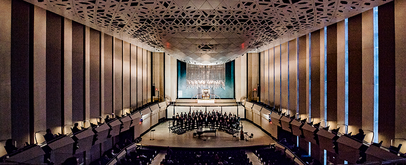Voxman Music Building concert hall with choir on stage