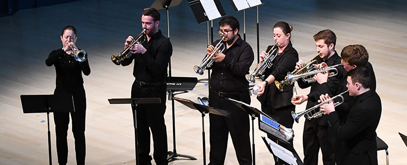 Trumpet students performing in the Concert Hall