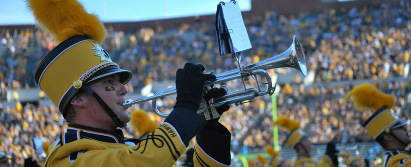 Trumpeter in the Hawkeye Marching Band