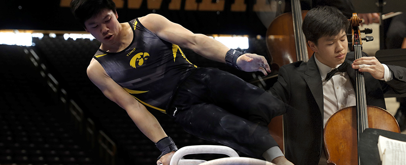 cellist and Iowa gymnast Bennett Huang