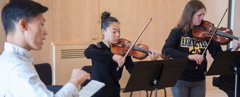 Two violinists in a coaching