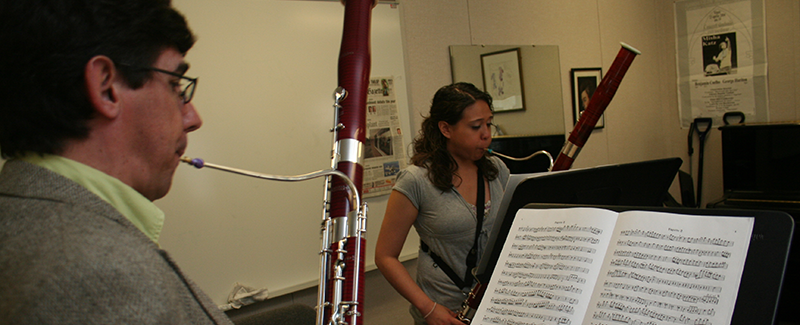 Bassoon professor Benjamin Coelho teaches a lesson.