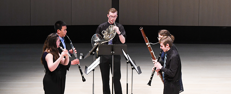 Student woodwind quintet performing in Concert Hall