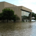 Clapp Recital Hall surrounded by flood waters.