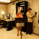 Trumpet Professor Amy Schendel uses the acoustic environment simulator in her Wenger studio.