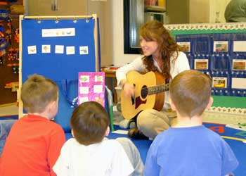 UI music therapy student works with children.