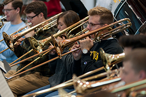 trombone section rehearsing