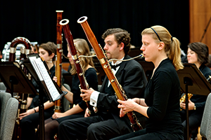 Bassoon section during a UI Symphony Band concert.