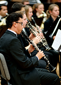 clarinetists performing on stage