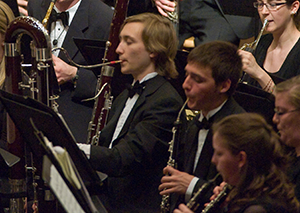 Doublereed section during a UI Symphony Band concert.