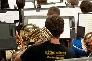 A trombone player during band rehearsal.